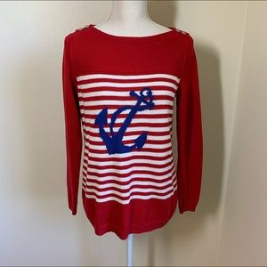 talbots striped anchor sweater